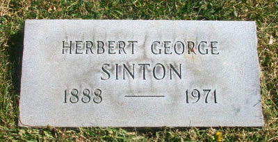 Headstone of Herbert George Sinton 1888 - 1971