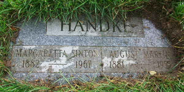 Headstone of Margaretta Jane Sinton Handke 1882 - 1967