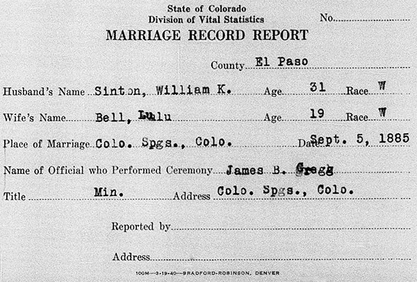 Marriage Record Report of William Azel Kelley Sinton and Lulu Elizabeth Bell