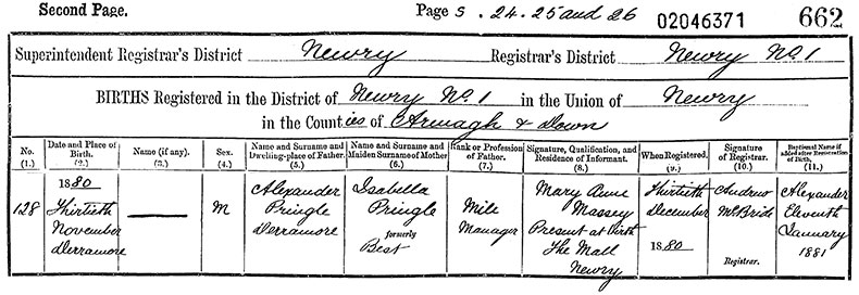 Birth Certificate of Alexander Pringle - 30 November 1880