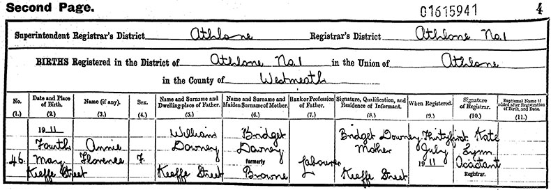 Birth Certificate of Annie Florence Downey - 4 October 1911