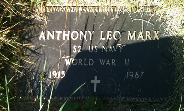 Headstone of Anthony Leo Marx 1915-1987