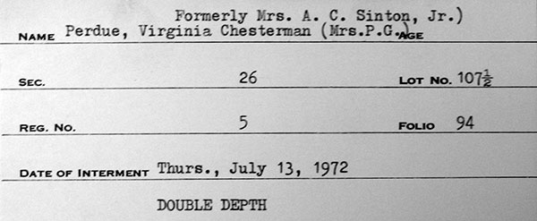 Interment record for Virginia Perdue