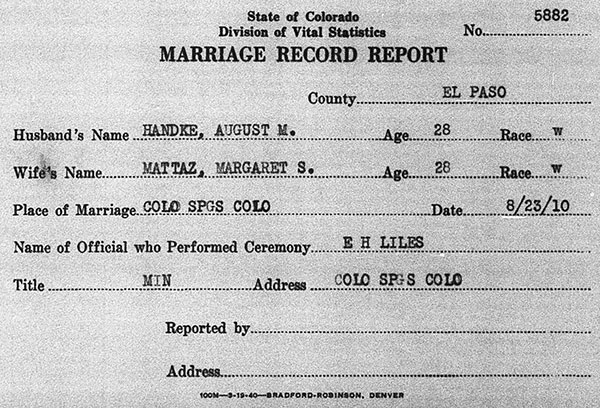 Marriage details of August M. Handke and Margaretta Jane Mottaz