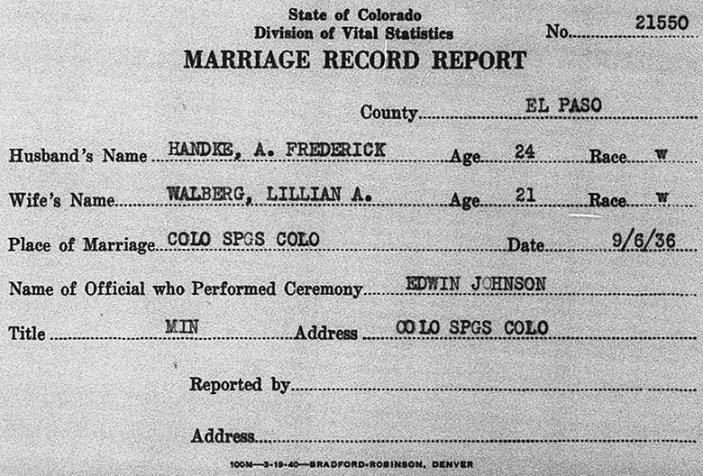 Marriage Record of August Frederick Handke and Lillian Adelaide Walberg - 6 September 1936