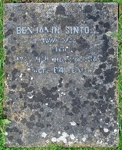 Headstone of Benjamin Sinton 1800 - 1864