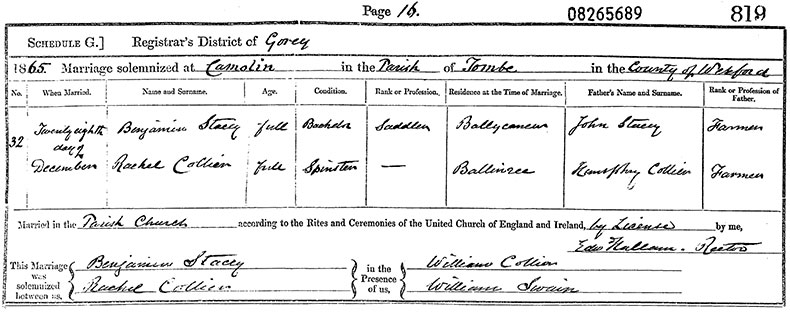 Marriage Certificate of Benjamin Stacey and Rachel Collier - 28 December 1865