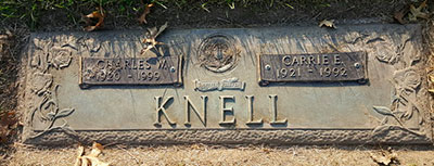 Headstone of Carrie Eleanor Knell (née Sinton) 1921 - 1992