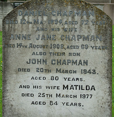 Headstone of Anne Jane Chapman (née Wright) 1839 - 1908
