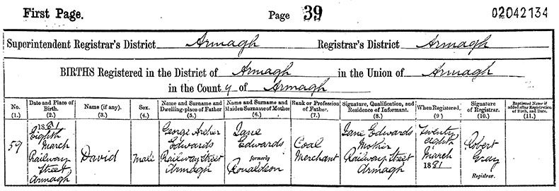 Birth Certificate of David Edwards - 8 March 1881