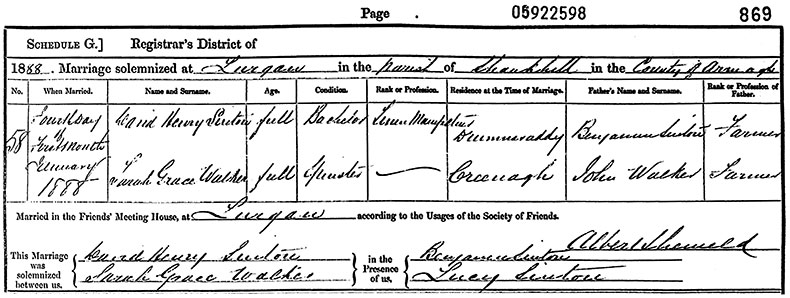 Marriage Certificate of David Henry Sinton and Sarah Grace Walker - 4 January 1888