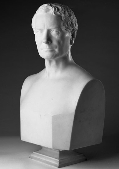 Marble portrait bust of David Sinton created by Hiram Powers in 1870