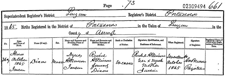 Birth Certificate of Dixon Atkinson - 3 October 1865