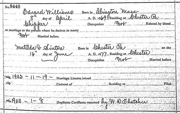 Marriage details of Edward Williams and Matilda V. Sinton