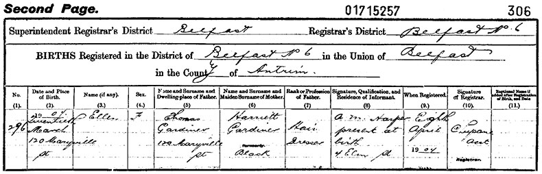 Birth Certificate of Ellen Gardiner - 20 March 1904
