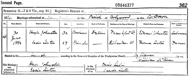 Marriage Certificate of Hugh Johnston and Essie Sinton - 30 June 1894