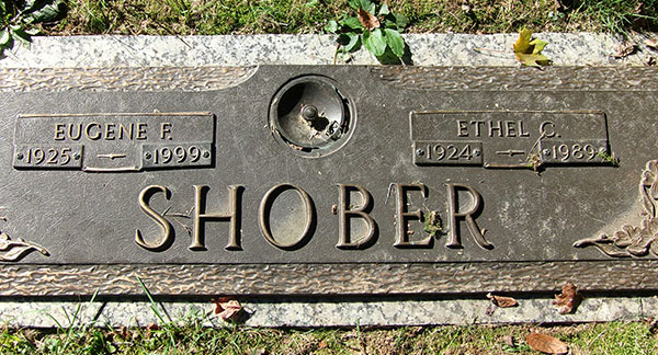 Headstone of Eugene F. Shober 1925 - 1999