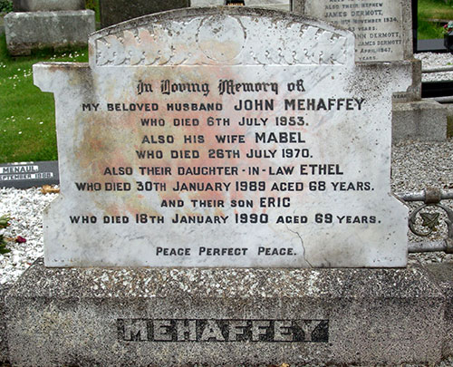 Headstone of Mabel Mehaffey (née Sinton) 1886 - 1970