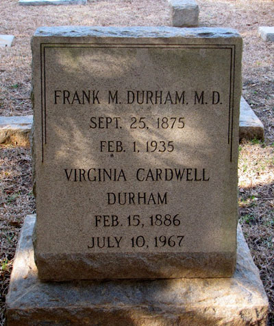 Headstone of Virginia Durham, Columbia, South Carolina, USA