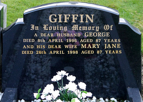 Headstone of Mary Jane Giffin 1911 - 1998