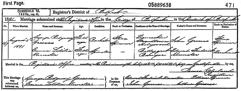 Marriage Certificate of George Ridgway Greeves and Emma Letitia Munster - 5 August 1891