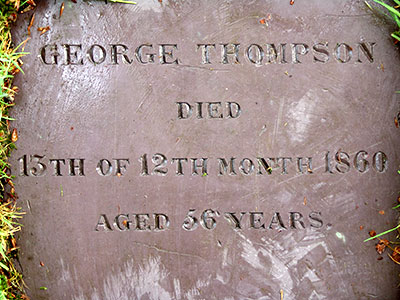 Headstone of George Thompson 1804 - 1860