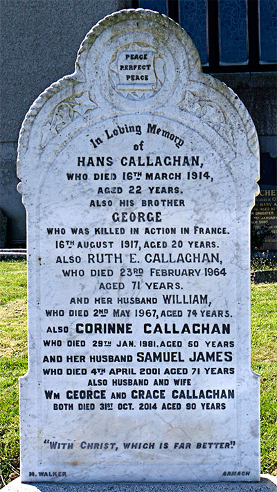 Headstone of Samuel James Callaghan 1930 - 2001