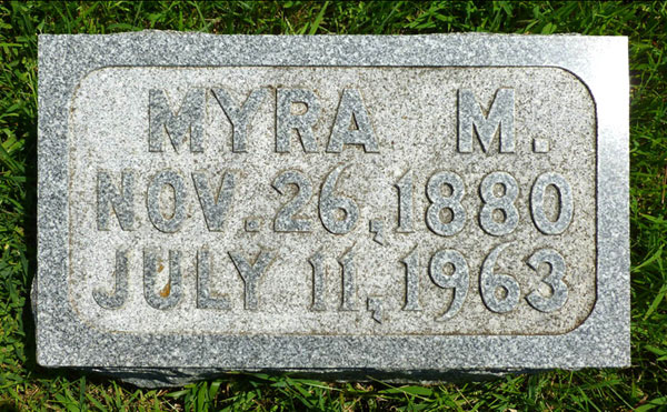 Headstone of Myra M. Willett (n�e Nourse) 1880-1963