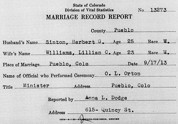 Wedding record for Herbert George Sinton and Lillian Clare Williams