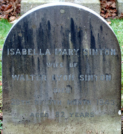 Headstone of Isabella Mary Sinton (née Pringle) 1861- 1943