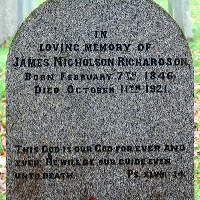 Headstone of James Nicholson Richardson 1846 - 1921