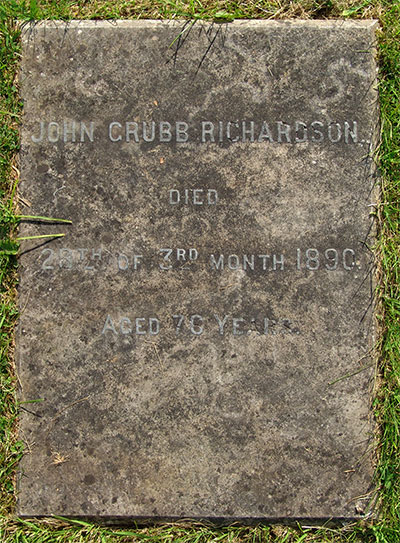 Headstone of John Grubb Richardson 1813 - 1890<