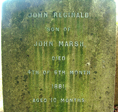 Headstone of John Reginald Marsh 1880 - 1881