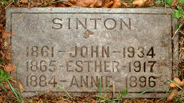 Headstone of Mary Ann Sinton 1884 - 1896