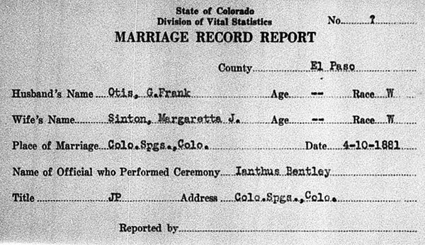 Marriage Record of George Franklyn Otis  and Margaretta Jane Sinton - 10 April 1881
