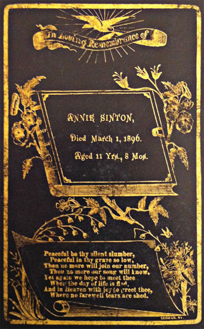 Memorial Card for Annie Sinton 1884-1896