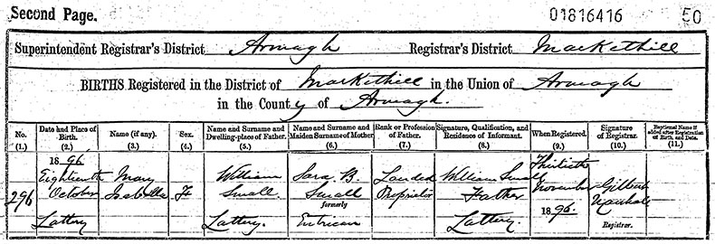 Birth Certificate of Mary Isabella Small - 18 October 1896