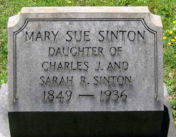 Headstone of Mary Susan Sinton, Virginia, USA