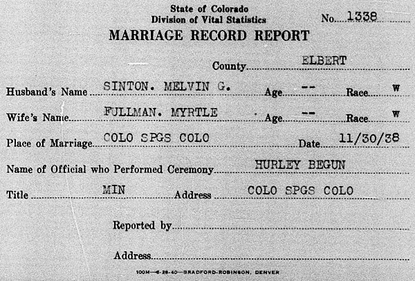 Marriage of Melvin Grant Sinton and Myrtle Fullman on 27 November 1938