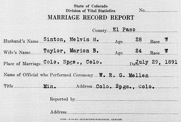 Marriage Record Report of Melvin McGregor Sinton and Marion Bartlett Taylor