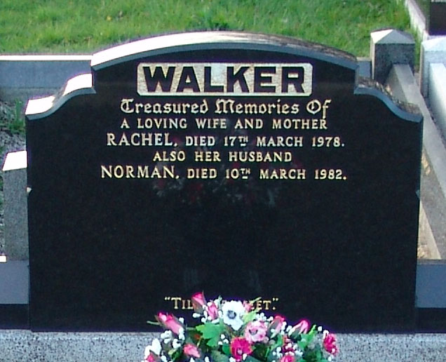 Headstone of Rachel Walker 1910 - 1978