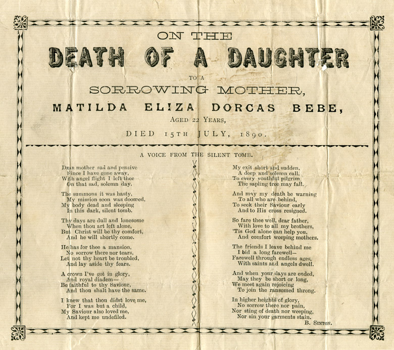 Poem written by Benjamin Sinton subsequent to the death of Matilda Eliza Dorcas Bebe at age 22