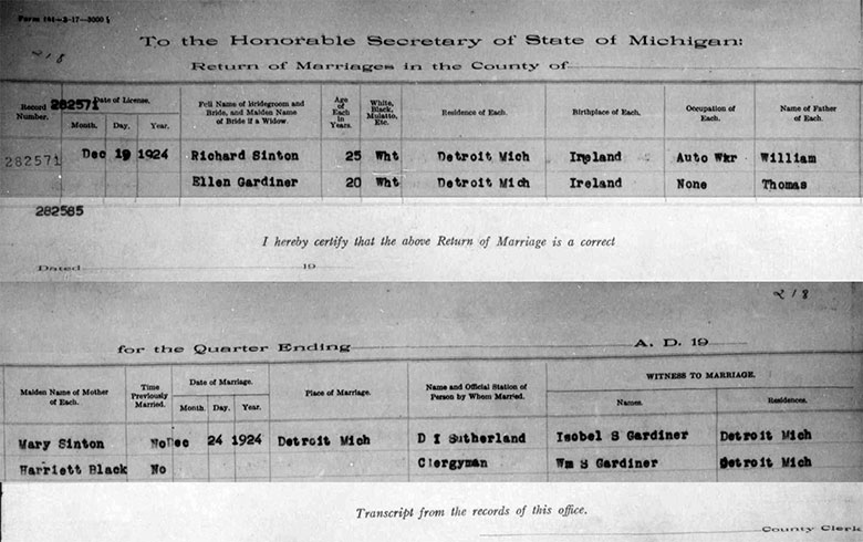 Marriage Record of Richard James Sinton and Ellen Gardiner - 24 December 1924