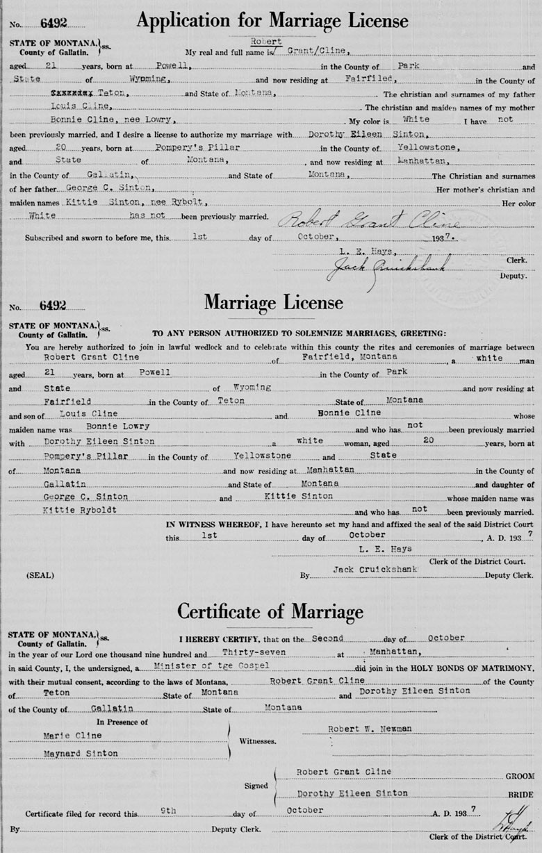 Marriage License and Certificate of Robert Grant Cline and Dorothy Eileen Sinton