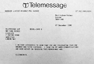 Congratulatory telegram from Her Majesty, Queen Elizabeth II