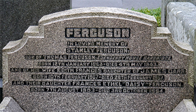 Headstone of Stanley Ferguson 1863 - 1943