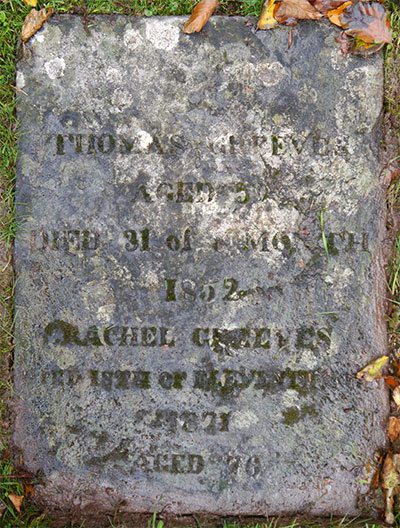 Headstone of Thomas Greeves 1792 - 1852
