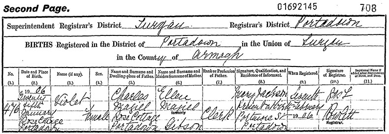 Birth Certificate of Violet Magill - 25 January 1906