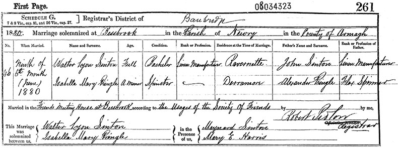 Marriage Certificate of Walter Lyon Sinton and Isabella Mary Pringle - 9 Jun 1880