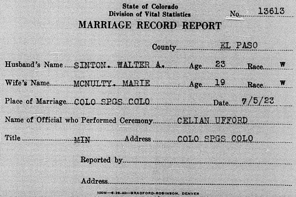 Marriage record for Walter A. Sinton and Marie McNulty 5 July 1923